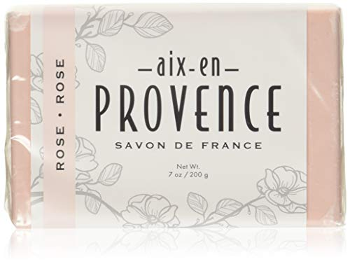 Aix en Provence Triple Milled Shea Butter Enriched Artisanal French Soap Bar (200 g) - Rose (5029)