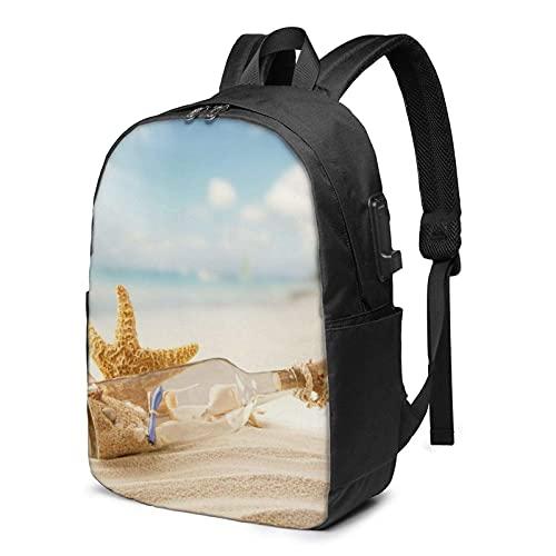 XCNGG Mochila para portátil, Mochila Ligera de Viaje de 17 Pulgadas con Puerto de Carga USB Pretty Beach y Seashell in Blue Sky