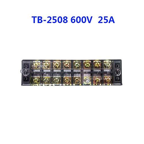 1pcs 600V TB2503 TB2504 TB2508 TB2510 TB2512 Posiciones de 25a Tornillo Tornillo de cable de cable de cable eléctrico Tira de terminales (Color : TB 2508)