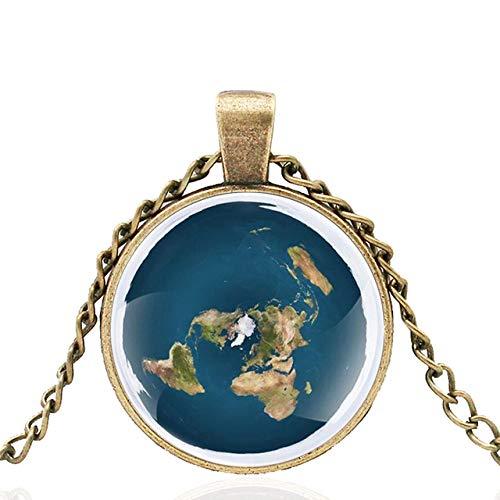Die Erde Ist Flach Glas Cabochon Anhänger Halskette Männer Frauen Charme Schmuck Accessoires Geschenke 80Cm