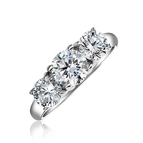 Bling Jewelry 3CT Rotonda Solitario 3 La Pietra Passato Presente Futuro Cubic Zirconia AAA CZ Anello di Fidanzamento Argento 925