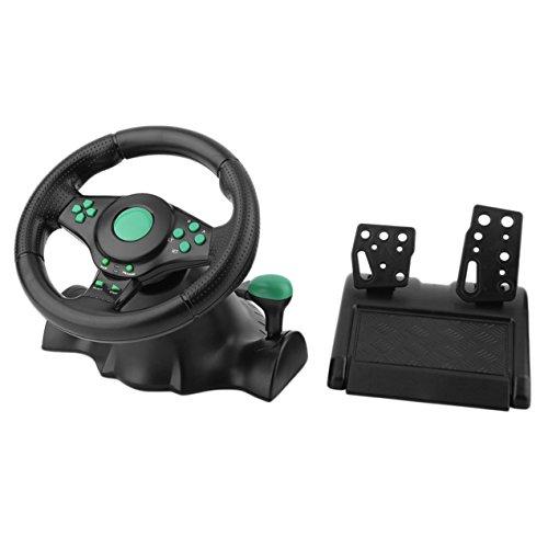 DBSUFV 180 graden rotatie vibratie racestuur met pedalen, echte force feedback, roestvrijstalen schakelpaddles, voor XBOX 360 voor PS2 voor PS3 PC USB auto stuurwiel