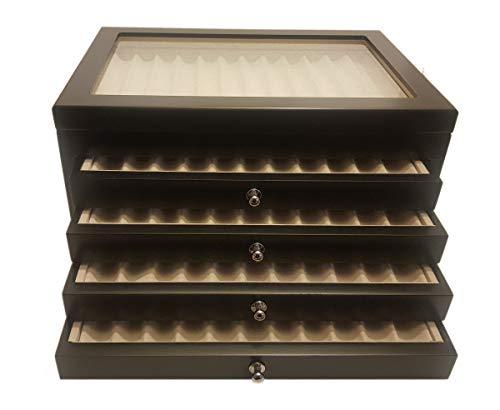 Caja bolígrafos de Madera con Vitrina Caja Estuche para 56Plumas lacada Negro