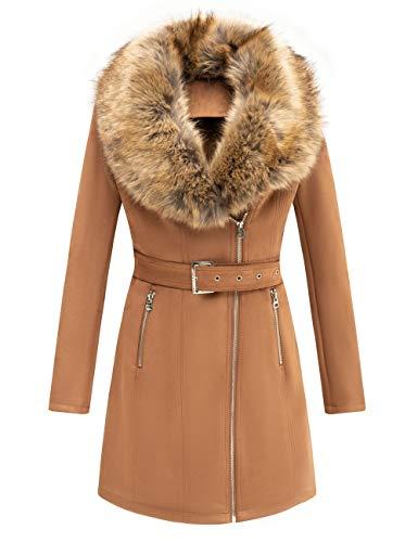 Bellivera Women's Faux Suede Leather Long Jacket, Wonderfully Heavy Coat with Detachable Faux Fur Collar 249 Camel M