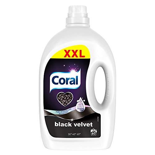 Coral Waschmittel flüssig für intensives Schwarz – 60 Waschladungen hygienisch reine Wäsche, Schutz vor Ausbleichen – Black Velvet Flüssigwaschmittel ( 1 x 3 L)