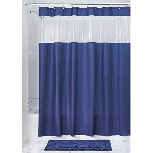 iDesign 26688EU Hitchcock PVC-Freier Eva Duschvorhang, 183 x 0,254 x 183 cm, marineblau/durchsichtig, vinyl