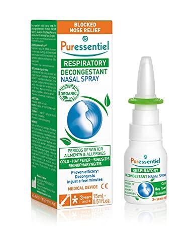 Puressentiel - Respiratoire - Spray Nasal Décongestionnant aux HE Bio - Décongestionnant pour rhume, rhinite, sinusite, rhinopharyngite - 15 ml