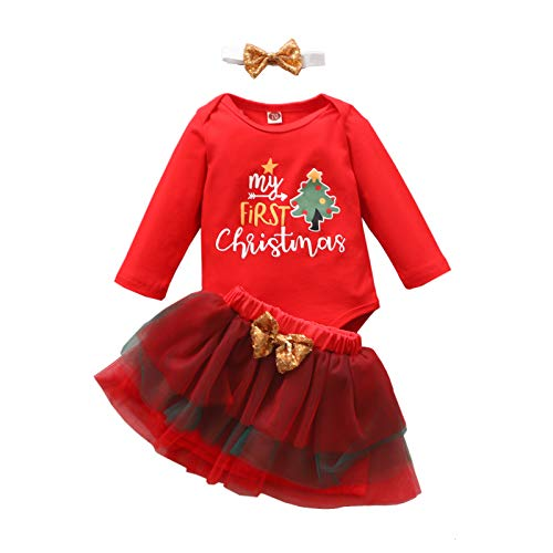 Conjunto Navidad Bebe Niña Vestido Mi Primera Navidad Traje Manga Larga Mono+Falda de Tutú+Diadema Partido Disfraces Navideños Bebes