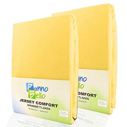 PANNOBELLO Spannbettlaken Doppelpack Gelb 2 Stück 180 x 200 cm - 200 x 200 cm (+30 cm) Jersey 100% Baumwolle für bis zu 40 cm Hohe Matratzen Spannbett-Tuch Bettlaken Laken auch für Topper