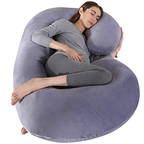 Pregnancy Pillows for Pregnant Women,Full Body Pillows for Sleeping,C Shaped Maternity Pillows for Side Sleepers,Support Back, Hips, Legs and Belly, Removable Washable Velvet Cover(Gray)
