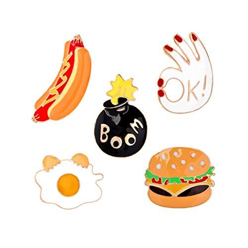 DAXINYANG Regalo Broche 5pcs Placa de Metal Hamburguesa de Pizza de Dibujos Animados de Perro Caliente Ropa Accesorios de la joyería