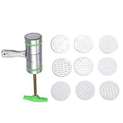 Pasta Maker Machine 9 Mode Card Stainless Steel Manual Noodle And Pasta Maker Press Spaghetti Pasta Machine Used to Make all Kinds of Noodles (Color : Green, Size : One size) JIAJIAFUDR