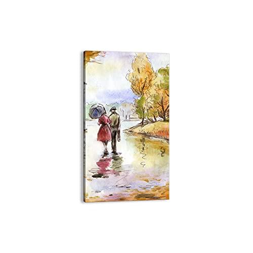 Quadro su tela - Elemento unico - Tempo pioggia autunno parco - 45x80cm - Pronto da appendere - Home Decor - Stampe su Tela - Quadri Moderni - completamente incorniciato - PA45x80-2914