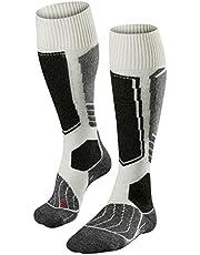 FALKE SK1 skisokken voor dames, wol, zijde, maat 35-42, zwart, blauw, vele andere kleuren, dikke versterkte skisokken zonder patroon met extra sterke bekleding, kniehoog en warm voor het skiën 1 paar