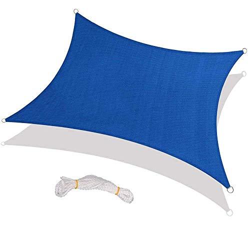 Pillowcase Toldo Impermeable, rectángulo al Aire Libre 4 Veces;Toldo de Vela de Sombra de 7 m, 95% de Bloque UV, Vela de Sombra de Cuatro Esquinas para jardín, Patio, Playa, Fiesta, Rojo óxido