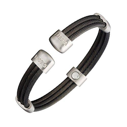 Magnetarmreif Magnetspange Trio Cable Black Satin - Die sportliche Weiterentwicklung der 'Twist-Magnetarmspange' in mattem Schwarz und mattierten Edelstahl Schmuckverbindungen und Abschlussköpfchen - sehr stylisch., Größen:XL - 20 - 22.5cm