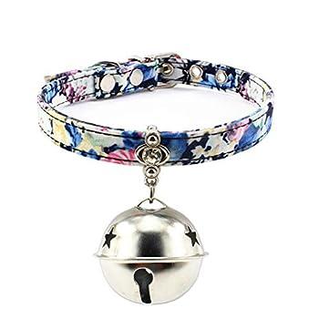 AMDXD Harnais et Colliers de Chien Bleu Tissu Harnais Laisses Set pour Chat Pendentif Grosse Cloche Rose M