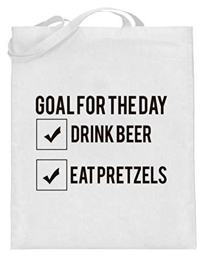 Goal For The Day - Drink Beer - Eat Pretzels Oktoberfest 2018 München Bayern Múnich - Bolsa de yute (con asas largas), color Blanco, talla 38cm-42cm