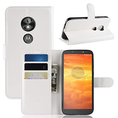 LMFULM® Hülle für Motorola Moto E5 Play (5.3 Zoll) [Fit UK Version only] PU Leder Magnet Brieftasche Lederhülle Handytasche Litschi Muster Standfunktion Ledertasche Flip Cover Weiß