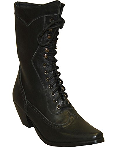 "Abilene Women's Rawhide by 8"" Victorian Lace Up Boot Snip Toe Black 8 M"