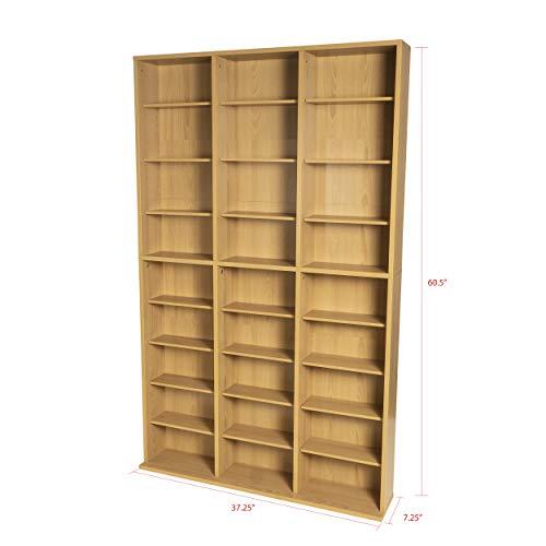 Atlantic Oskar Adjustable Media Cabinet - Holds 756 CDs, 360 DVDs or 414 Blu-Rays/Games, 21 Adjustable and 6 Fixed Shelves PN38435712 in Maple