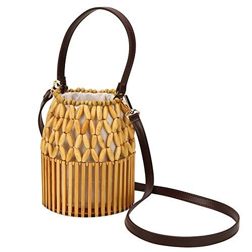 Gedourain Bolso de bambú de Las Mujeres, Bolso de bambú Durable de la purificación del Aire de Charcole Ambiental para la Playa para el Partido