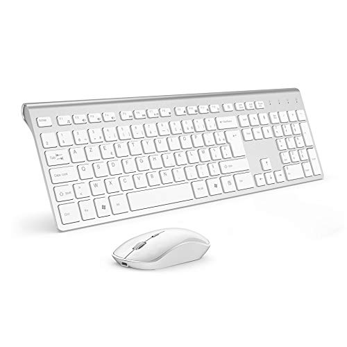 JOYACCESS - Teclado inalámbrico de 2,4 GHz Ultrafino con Teclado inalámbrico inalámbrico, silencioso 2400 dpi ergonómico para PC, Smart TV, Ordenador (QWERTY Disposition), Color Blanco y Plateado
