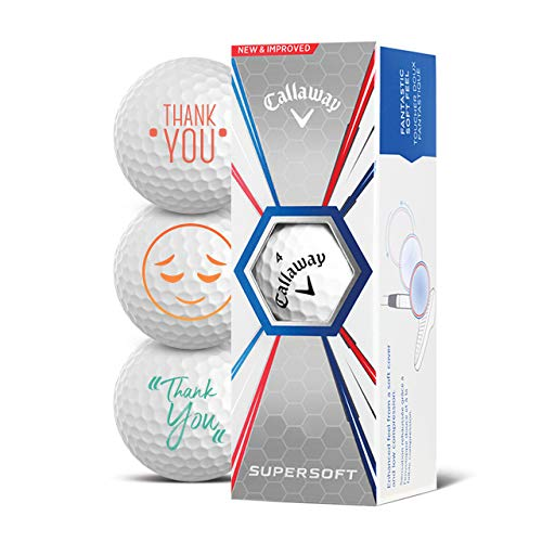 Callaway Golfbälle 3er Pack Motiv Danke Thank You Golf Geschenke für Golfer Geschenkidee (Supersoft)