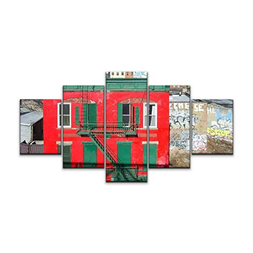 Skipvelo red House in Williamsburg, Brooklyn Newyork graffitis and Pictures Wall Art Canvas Prints Pictures Paintings Artwork Home Decor Stretched and Framed - 5 Pieces