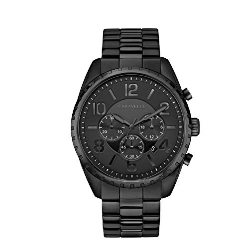 Caravelle Designed by Bulova Men's Quartz Watch with Stainless-Steel Strap, Black, 21.75 (Model: 45B150)