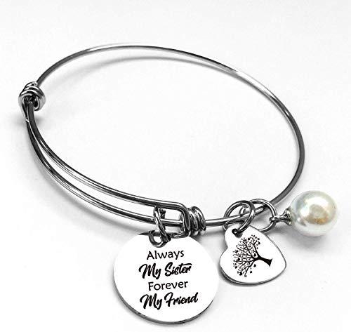 Best Sister Friends - Pulseras de cita inspiradora, regalos para hermanas, mujeres, adolescentes, niñas, acero inoxidable, pulsera ajustable, para amistad, aliento, joyería familiar