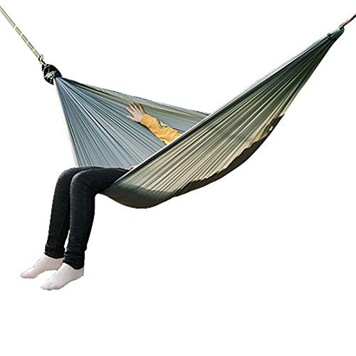 ZZBB Camping Hammock,lightweight Single Size One Person Nylon Parachute Outdoor Tree Hammock with 2 Tree Straps &carabiners for Sleeping Beach Backyard Patio Hiking,Gray