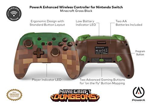 🥇 Mando inalámbrico PowerA para Nintendo Switch: Minecraft Grass Block |  Gorila Geek