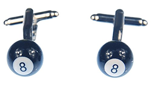 Miniblings Boule de Billard 8 Boutons de Manchette - Boutons de Chemise à la Main I Boutons de Manchette Je Belle boîte en Bois Inclus - Boule de Bill