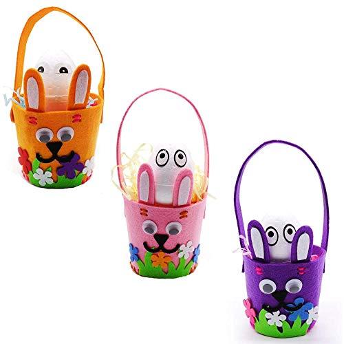 NOZOMI 3Pcs Easter Craft Kits, Easter DIY Basket Decoration Sets with Easter Egg Rabbit Chick Basket Ornament Craft Kits for Kids Favor Classroom Homeschool Art Decor(Type-3)