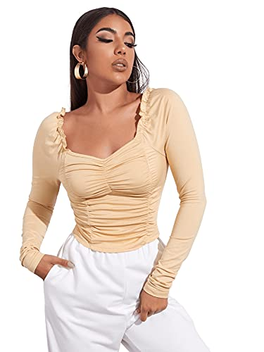 DIDK Damen Crop Langarm Shirts Rüschen Oberteil Einfarbig Basicshirt Elegant T-Shirt Langarmshirts mit Herzausschnitt Beige L