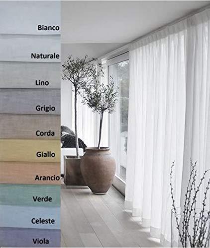 mauro Tessuto per Tende a Metro - 100% Poliestere Effetto Lino - Altezza cm 320 (A - Bianco)