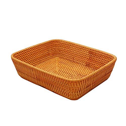 gaowei Cesta de Mimbre Rectangular Hecha a Mano, Bandeja de Frutas Multifuncional, Cesta de Pan y Cesta de Verduras, Cesta de Almacenamiento de ArtíCulos Diversos (tamaño : 1)
