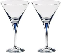 Orrefors 6257406 Intermezzo, Set of 2 Martini glass, 7 Ounce, Clear/Blue