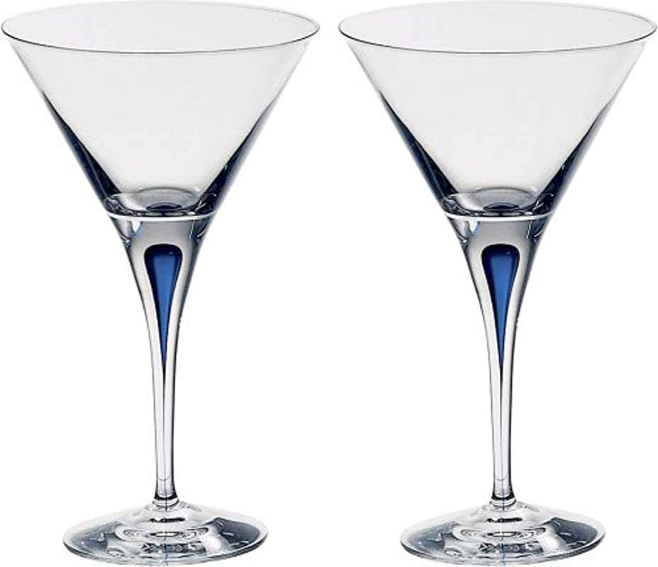 Orrefors 6257406 Intermezzo Blue Set Of 2 Martini Glass 7 Ounce Clear