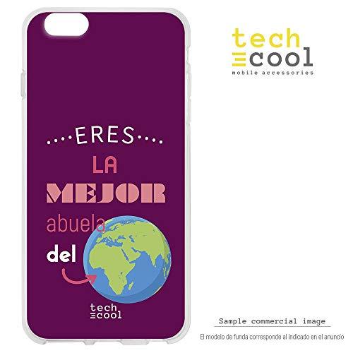 Funnytech Funda Silicona para Samsung Galaxy S6 Edge [Gel Silicona Flexible, Diseño Exclusivo] Frase Eres la Mejor Abuela del Mundo Fondo Rosa Oscuro