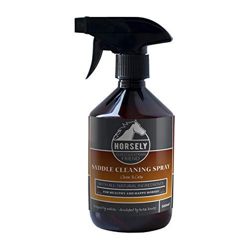 Sattel-Lederreiniger von Horsely I Sattel-Reiniger Spray 500ml I 100{dddfb65ad4242dd097a65ac54cec1449ad80ce835abe7206bd4f63d3e73faf92} Biologische Zutaten mit Olivenöl I Auch geeignet für Autoleder & Ledermöbel I Nachhaltige Sattelseife Alternative