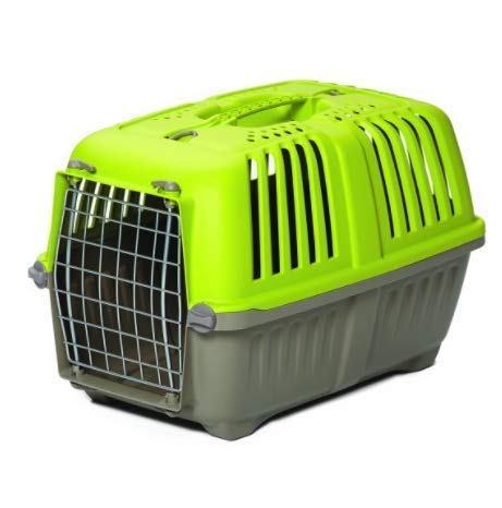 kk2 Pet Travel Carrier with Plastic Door for Toy Breeds – Durable & Hard-Sided for Travel, Dog Carrier Features Easy Assembly, Ideal for Small Dogs & Cats (Green)