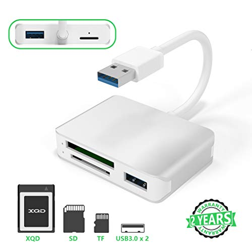 【Aktualisierte Version】 XQD-Kartenleser, USB 3.0 SD (HC/XC) TF-Kartenleser mit USB3.0x2 Schnelle Geschwindigkeit Bis zu 5 Gbit/s, kompatibel mit XQDder Sony G & M-Serie für Windows/Mac OS