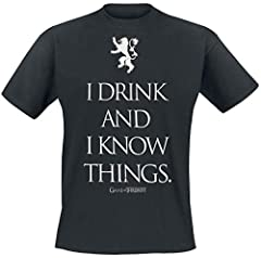 Camiseta Juego de Tronos Color Negro para Hombres -  I Drink and I Know Things