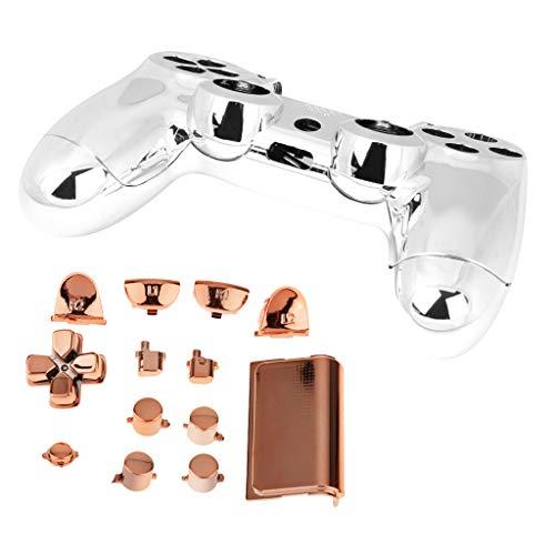 P Prettyia Controller Chrom Modding Kit Full Shell Kit Ersatz Schutzhülle Cover Case Set für PS4 Wireless - Orange, one Size
