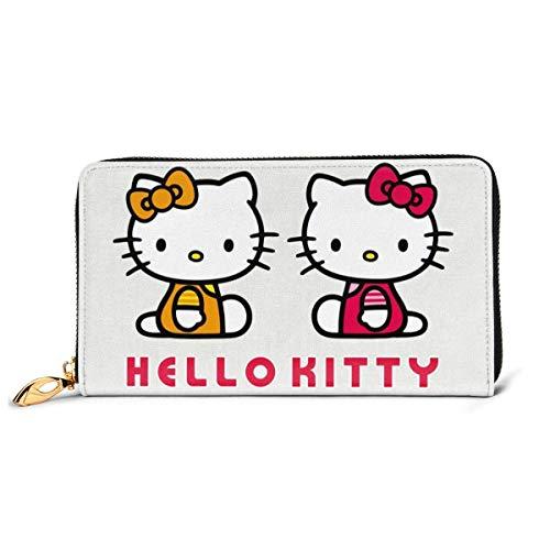 Cuero Embrague Dibujos Animados Hello Kitty Billetera Cremallera Mujeres Moda Pulsera Monederos Teléfono Crédito Multi Tarjeta Titular Organizador Carteras