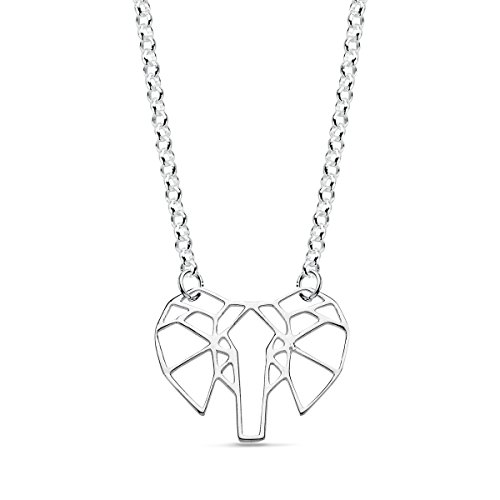 Iyé Biyé Jewels - Collar Colgante Mujer niña Plata de Ley 925 Elefante Calado Cadena Rolo 42 cm Ajustable.