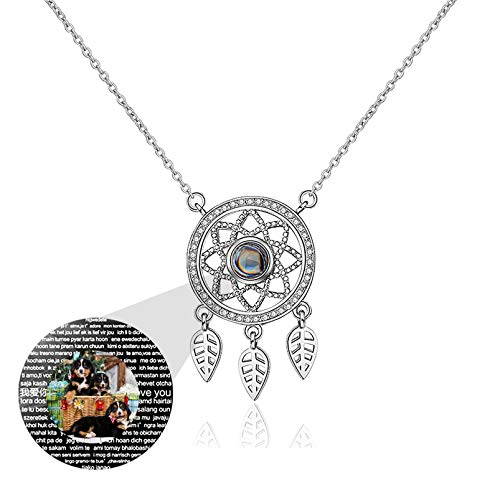 Personalized Projection Necklace Dream Catcher Pendant Customized Photo Necklace 100 Languages I LOVE YOU Promise Necklace(Silver Full Color 24)