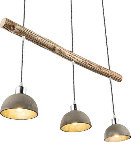 Esszimmer Pendelleuchte Holz und Beton Hängeleuchte Esszimmerlampe 85 cm Natur (Wohnzimmerlampe, Hängelampe, Esstischleuchte, 3 Flammig)